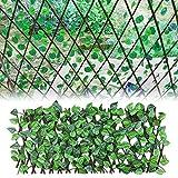 Valla de Enrejado Artificial en expansión, Paneles de Valla de Planta de jardín, Pantalla de privacidad retráctil de Valla de Planta de jardín para Exterior, Patio Trasero y decoración