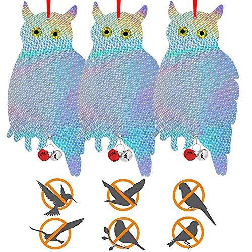 3PCS Vogelabwehr Reflektierende Eule,Eule Vogelschreck Balkon,Eule Attrappe Vogelschreck,Hängende Eule Vogel,Vogelschreck Vogelscheuche Eule,Eulenattrappe (Silber / 3PCS)
