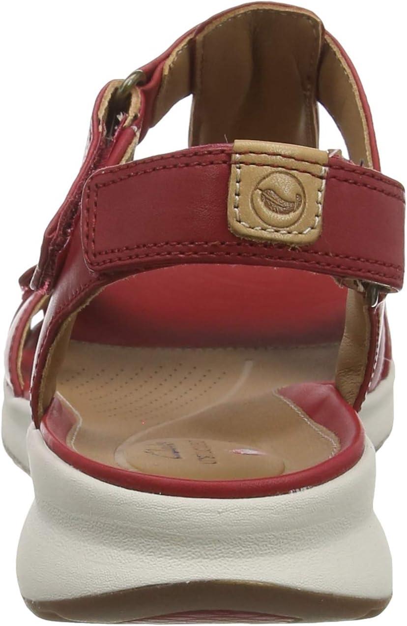 Clarks Un Adorn Vibe Slingback sandalen voor dames Beige Red Leather Red Leather
