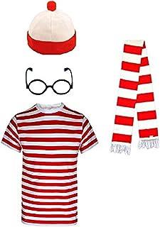 Kids Meisjes Jongens Waarneemt de Nerd Rood en Wit Gestreepte Geek World Book Dag 3 of 4 Stuk Kostuum