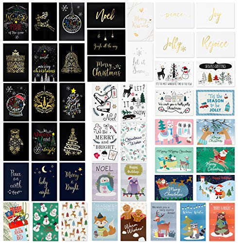 48 Unique Christmas Cards Assorted- Christmas Greeting Card in 48 Unique Designs- Assorted Christmas Greeting Cards- Family Christmas Cards- 48 Bulk Assorted Christmas Cards with Envelopes,4 x 6 Inch