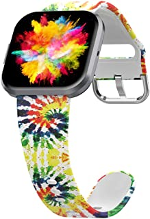 UooMoo Tie-dye Bands Compatible with Fitbit Versa/Fitbit Versa 2/Fitbit Versa Lite for Women Men,Soft Silicone Wristband A...