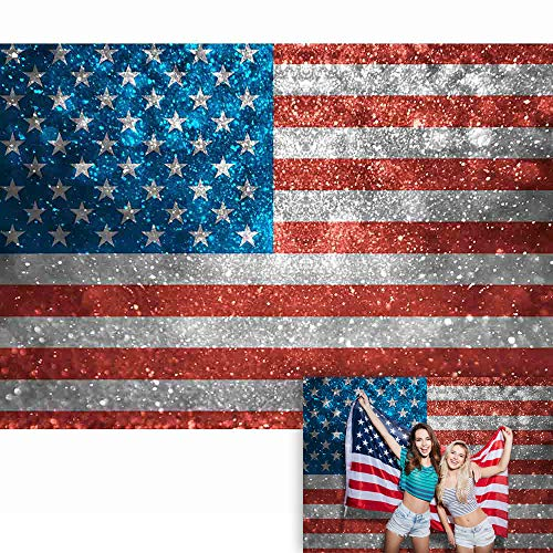 Allenjoy 7x5ft Independence Day Photography Backdrop Sparkle American USA Flag (Not Glitter) Background 4th of July Patriotic Veterans Memorial National Decoration Party Go Vote Banner Photo Booth