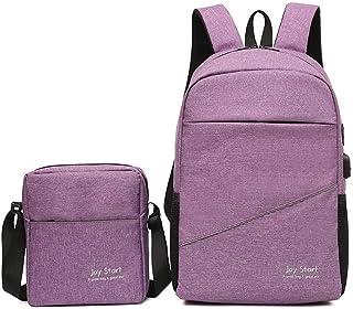 Two-piece Backpack For Laptop IPad, Etc. Versatile Multi Piece Set (Color : Purple)