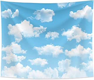 Allenjoy 10x8ft Fabric Blue Sky White Cloud backdrop for Newborn Spring Portrait Photography Pictures Kids Children World Travel Aviator Birthday Party Decor Welcome Baby Shower Photo Shoot Background