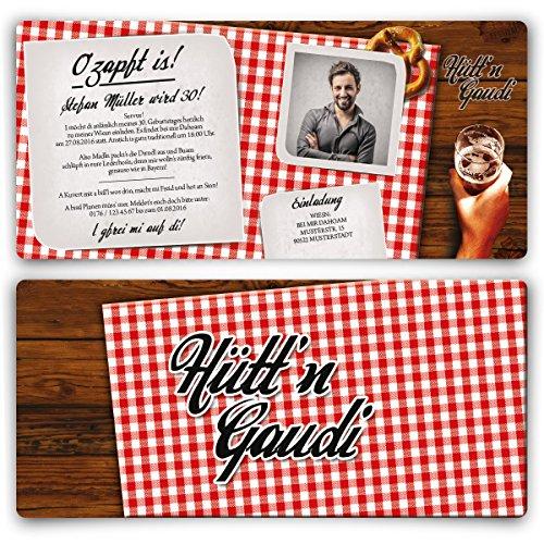 Einladungskarten zum Geburtstag (30 Stück) Hüttengaudi mit eigenem Foto Rot Oktoberfest