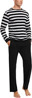 Aibrou Pijama Hombre Invierno de Algodón Mangas Larga Pantalones Largo 2 Piezas a Raya