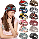 12 Pieces Women Boho Headbands Stretch Cotton Headbands Elastic...