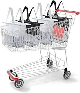 Reusable Shopping Cart Bags and Grocery Organizer Designed for Trolley Carts by Modern Day Living … (Green) (Grey Black Grey Black)