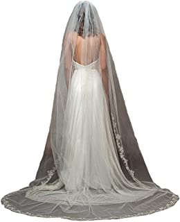 Embroidered Floral Silver Gold Lace With Rhinestone Wedding Bridal Veil DB131