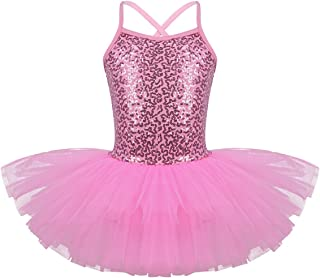 Girls Sequined Camisole Gym Ballet Dance Tutu Dress Sweetheart Ballerina Leotard Skirted Dancewear Costumes