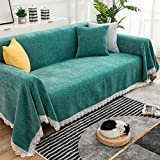 STACYPIK 1Pcs Stretch Sofa Slipcover Soft Chenille Fabric Couch Cover Slipcover Furniture Protector for 3 Cushion Couch,Non Slip and Elastic with Lace Fringing for Kids Pets(71' X118',Cypress Green)