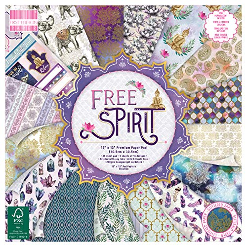 """First Edition FEPAD212 FSC 12x12 Paper Spirit-48 Sheet Pad, 200gsm Heavyweight Cardstock, Acid & Lignin Free, Soy Inks-for Card Making, Scrapbooking, Home Decor & Papercraft, Multicolour, 12""""x12"""""""