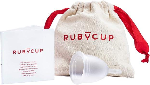Ruby Cup - Copa menstrual reutilizable hipoalergenica y suave- talla M (grande, flujo abundante) – TRANSPARENTE – Incluye donación de copa. Perfecta ...