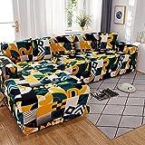 WXQY Funda de sofá geométrica elástica para Sala de Estar, Funda de sofá Antideslizante de Esquina de sección Transversal en Forma de L, Funda de sofá elástica Ajustada A3 de 3 plazas