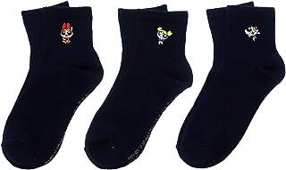 パワーパフガールズ ネイビー ワンポイント刺繍 クルーソックス(レディース) 3柄セット【ブロッサム?バブルス?バターカップ】 女性用靴下