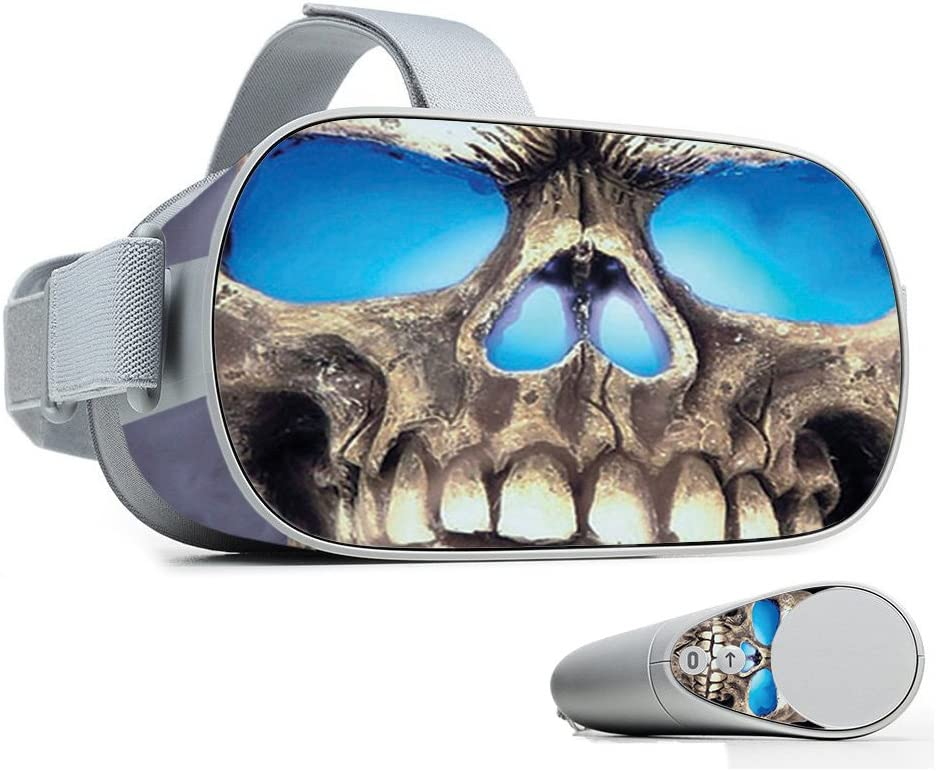 MightySkins Skin Compatible with Oculus Go Mobile VR - Psycho Skull   Protective, Durable, and Unique Vinyl Decal wrap Cover   Easy to Apply, Remove, and Change Styles   Made in The USA