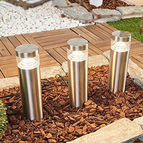 Lindby LED Erdspießleuchte \'Agathe\' (spritzwassergeschützt) (Modern) in Alu aus Edelstahl (3 flammig, inkl. Leuchtmittel) - Außenleuchte