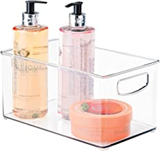 mDesign Deep Plastic Storage Bin with Handles for Organizing Hand Soaps, Body Wash, Shampoos, Lotion, Conditioners, Hand T...