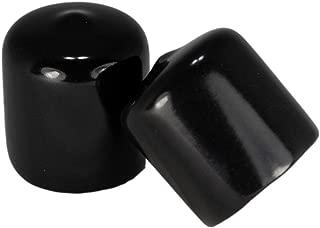 Prescott Plastics 1 Inch Round Vinyl End Cap in Black or White, Flexible Pipe Post Rubber Cover (10, Black)