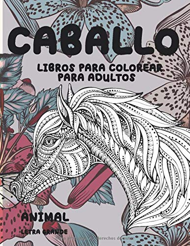 Libros para colorear para adultos - Letra grande - Animal - Caballo