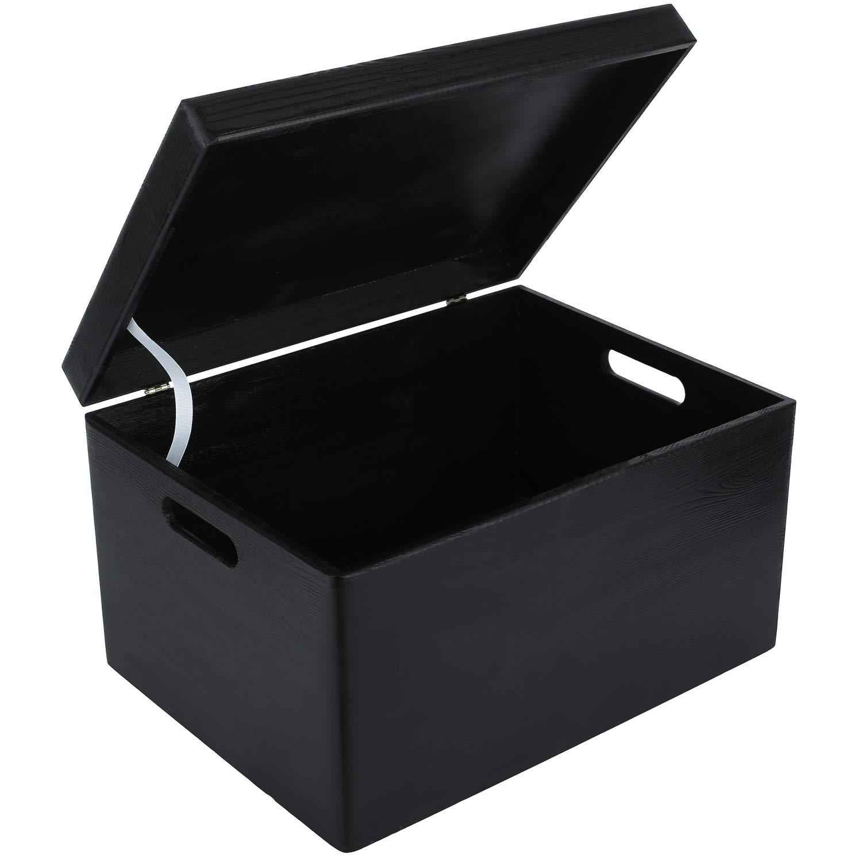 Creative Deco XXL Negro Caja de Madera Grande para Juguetes | 40 x ...