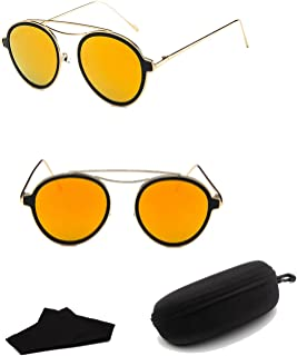 Sunglasses Fashion Accessories Round Retro Sunglasses Driving Polarized Glasses Men Steampunk098 (Color : Orange)