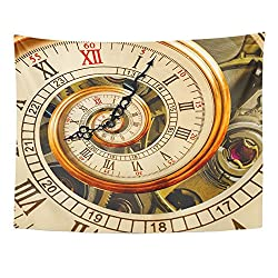 Emvency Tapestry Antique Old Clock Abstract Fractal Spiral Watch Classic Mechanism Unusual Roman Wall Hanging Polyester Fabric for Bedroom Living Bedspread Room Dorm Decorations 60x80 Inches