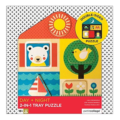 Petit Collage- Puzzle Legno Giorno e Notte, Multicolore, PE39621