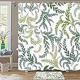 Juego de cortina de ducha de plantas de 72 x 72 pulgadas, duradero e impermeable, juego de cortinas de ducha de secado rápido con 12 ganchos de plástico y alambre de plomo pesado