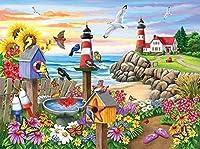 クロス ステッチ キット、鳥花灯台、11CT スタンプ針先プリント パターン キット家の装飾のためのクロスステッチ ミシン刺繍