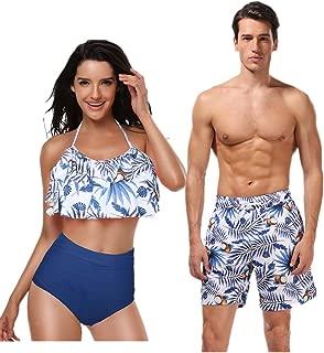 Women Men Couple Swimsuits Matching Swim Trunk Bikini 2 Pack