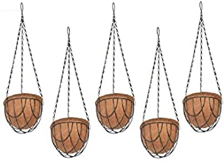 COIR GARDEN Coir Hanging Basket For Plants, Brown, 6 in, 5 Pieces