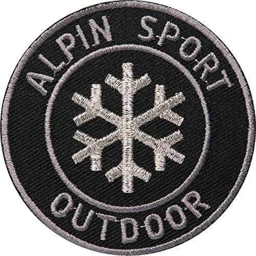 2 x Wintersport Outdoor Aufnäher gestickt 62 mm Silber rund / Alpin Sport Ski Snowboard Touren Schneeflocke / Patches zum Aufnähen Aufbügeln auf Jacke Kleidung Patch Aufbügler Flicken Bügelflicken