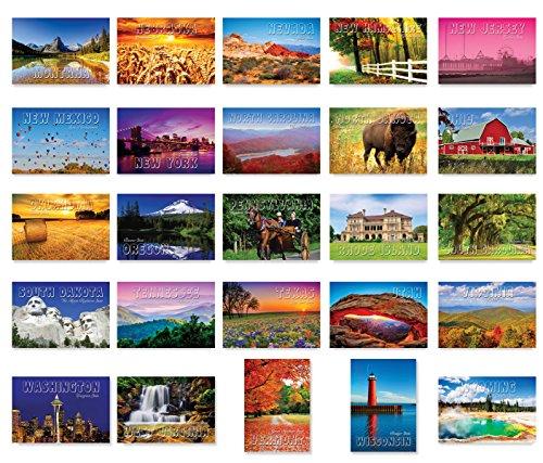 Amerika, das schöne Postkarten-Set 50 moderne Postkarten Sortimentspackung Diese Postkarten zeigen alle fünfzig Länder der Vereinigten Staaten von Amerika. Hergestellt in den USA.