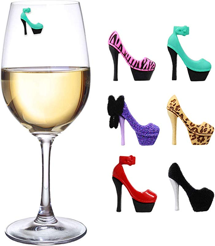 Claim Your Glass STILETTO HIGH HEELS Cocktail Wine Charm Drink Markers 6 Set Magnetic Markers For Stemmed Or Stemless Glasses