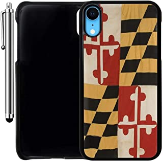 Custom Case Compatible with iPhone XR (Vintage Rustic Maryland State Flag) Plastic Black Cover Ultra Slim | Lightweight | Includes Stylus Pen by Innosub