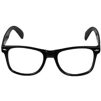 Nerd Brille Nerdbrille ohne Stärke Retro Set Herren Damen Männer Frauen schwarz