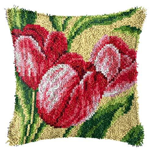 Kit de Ganchillo para Principiantes Adultos DIY Crochet Costura Sofá Sofá Cojín Funda Niño Padres Regalo 17 x 17 Pulgadas (Color : Without Pillow)