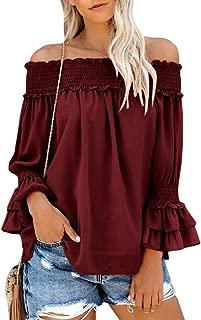 Womens Off The Shoulder Long Sleeve Chiffon Blouses Flowy Ruffle Tunic Tops