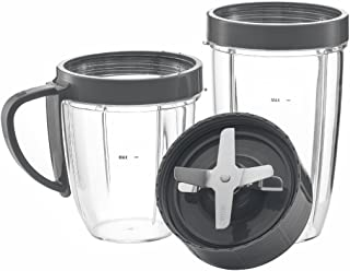 NutriBullet Cups & Blade Replacement Parts Set by Preferred Parts   Premium NUTRiBULLET High-Speed Blender Accessories Deluxe Upgrade Kit (Gray) by Preferred Parts