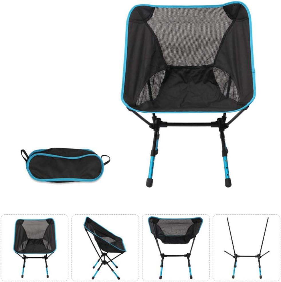 Zhhlinyuan Chaise Pliante Outdoor - Super Léger Portable Moon Chair Tabourets de Loisirs Camping Pêche Randonnée Plus Sky Blue + Black