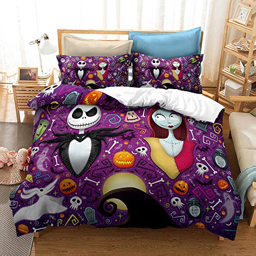 Enhome Duvet Cover Bedding Set for Single Double King Size Bed, 3D Halloween Skull Maid Print Microfiber Duvet Set Quilt Case with Pillowcases (The Nightmare Before Christmas-A,135x200cm)