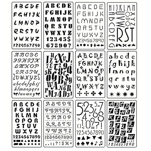 THETAG 12 Pièces Pochoir Chiffre et Lettre, Pochoir Dessin Peinture, Pochoirs DIY pour Enfants Création de Cartes, Pochoir Alphabet Réutilisable