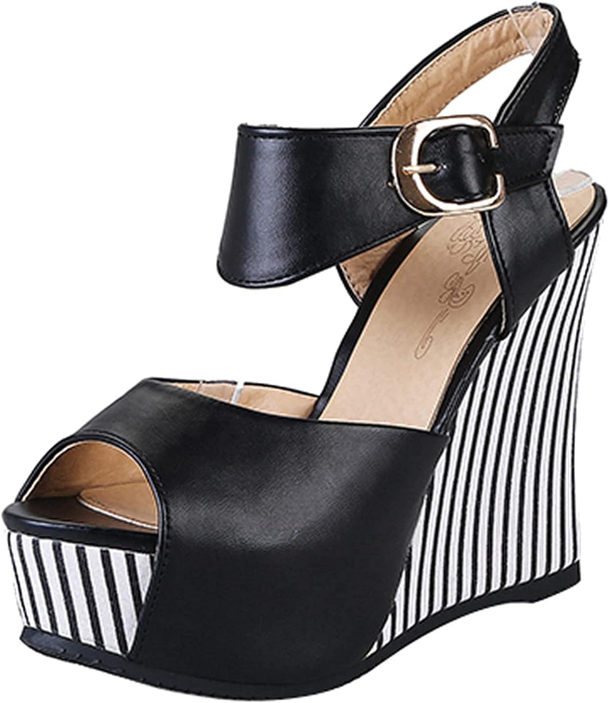SeiteHuud Women Phoenix Mall half Fashion Wedge Sandals Peep Ankle Strap Toe