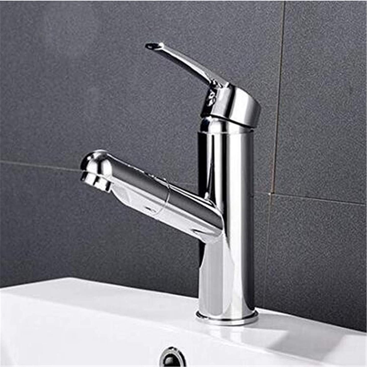 Sink Faucet Modern Home Kitchen and Bathroom Sink Taps Copper Pull Faucet Hot and Cold Single Hole Basin Faucet