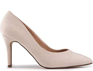 Baldi Women's Latvian Beige/Black high Heel mid Dress Shoes High Heel Classy Summer Shoes, Pointy Toe Comfy for Office and Outdoor