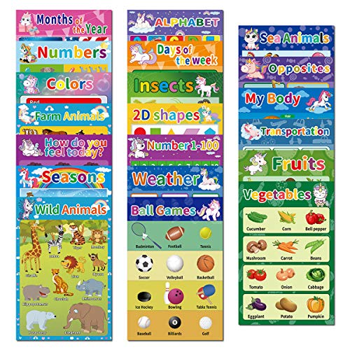 20 Educational Preschool Posters for Kids Toddlers Learning Kindergarten Classroom, Large 16.5 x 11 Inch Educational Charts Includes: Months Days Alphabet Numbers Colors and More(20Pcs)