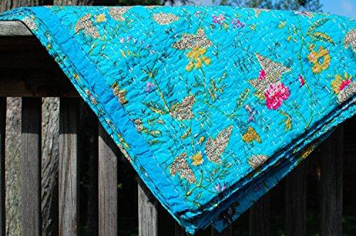 Kiara handgefertigt Quilts Baumwolle Paisley Print Blumenmuster reversibel Kantha Tagesdecken und coverlets Stitch Überwurf Twin Size/Queen Size, baumwolle, türkis / blau, Queen