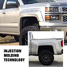 Smooth Finish OE Style Heavy Duty ABS Blister Plastic Fender Flare Compatible with 2014-2018 Chevrolet Silverado 1500 /& 2015-2018 Chevrolet Silverado 2500 3500 Short Bed 5.8 ft